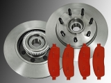 Front Brake Rotors and Hub Assembly Front Brake Pads Ford Pickup F-150 2004-2008 2WD 7 Studs