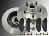 Front Brake Rotor and Hub Assembly Ceramic Brake Pads Ford F-150 1999-2003 RWD, 5 Stud, M14 Studs