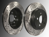 Slotted and Drilled Rear Brake Vented Rotors Dodge Magnum 2005-2008