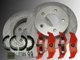 2x Rear Brake Rotors, Rear Brake Pads and Parking Brake Shoes, Hardware Jeep Grand Cherokee 1995-1998