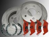 2x Rear Brake Rotors, Rear Brake Pads and Parking Brake Shoes Chrysler Voyager RG 2001-2007