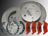 2x Rear Brake Rotors, Rear Brake Pads and Parking Brake Shoes Hardware Chrysler Voyager RG 2001-2007
