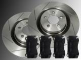 2 Slotted Front Brake Rotors and Ceramic Front Brake Pads Chrysler 300C SRT8 2005 - 2012